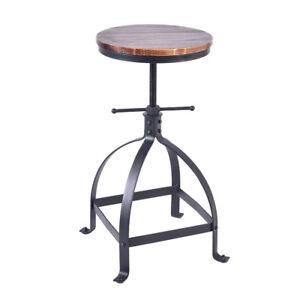Vintage Bar Stool Swivel Wood Seat Kitchen Coffee Chair Height