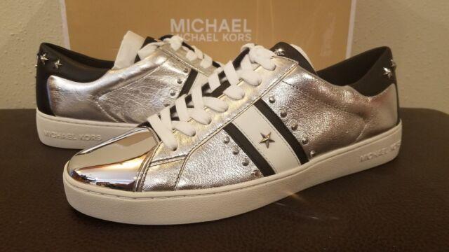 53b318b08a166 Michael Kors MK Women's Frankie Stripe Suede Sneakers Shoes Silver SZ 9.5