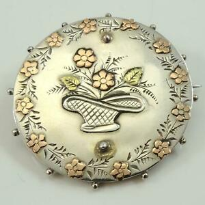 Victorian-Antique-Silver-Yellow-amp-Rose-Gold-Sweetheart-Brooch-1893