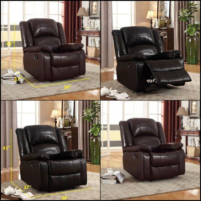 Wondrous Wall Hugger Glider Rocker Recliner Chair Sofa Bonded Leather Overstuffed Living Dailytribune Chair Design For Home Dailytribuneorg