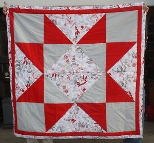 New Native American Red Star Quilt 69x69 Amazing Craftmanship Free