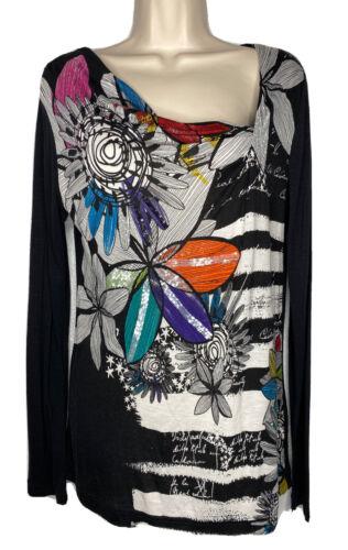 Desigual Graphic Floral Sequin Tee T-shirt Asymmet