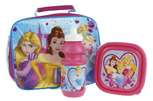 Disney-Princess-3-Piece-Lunch-Bag-Sandwich-Box-Sports-Bottle-School-Nursery