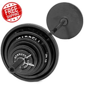 300-lbs-CAST-IRON-OLYMPIC-WEIGHT-SET-7-ft-Bar-Grip-Plates-Lifting-Collars-Gym