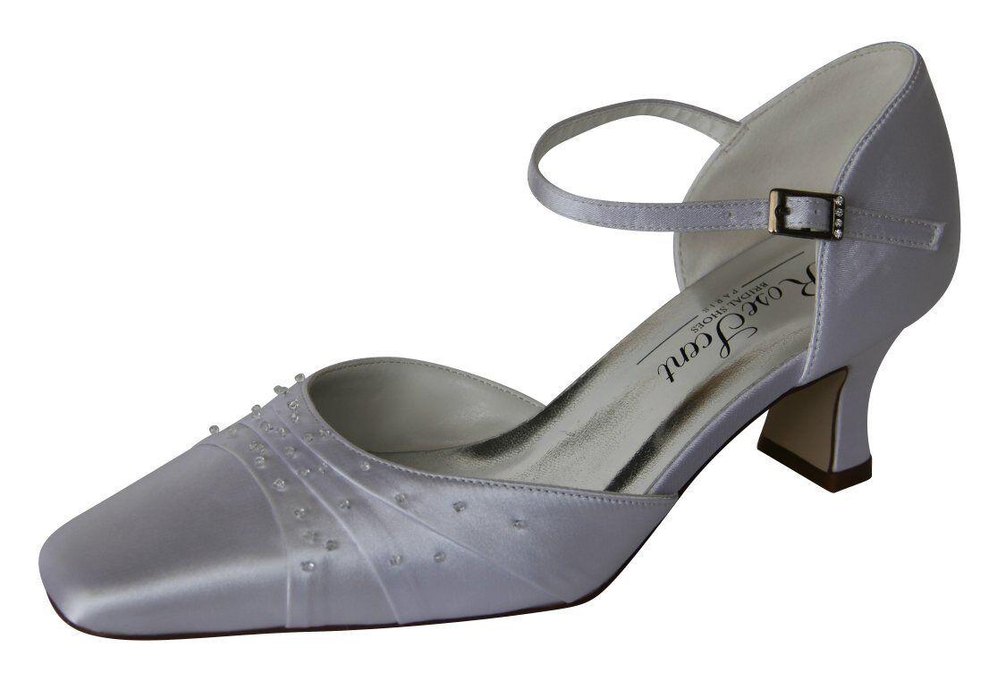 HBH Scarpe da sposa in satin, cinturino in pelle, con vetro strass ricamati, 5cm, paragrafo