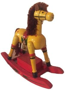 """VINTAGE MUSICAL WOODEN ROCKING HORSE PLAYS """"SANTA CLAUS IS COMING TO TOWN"""" RARE"""