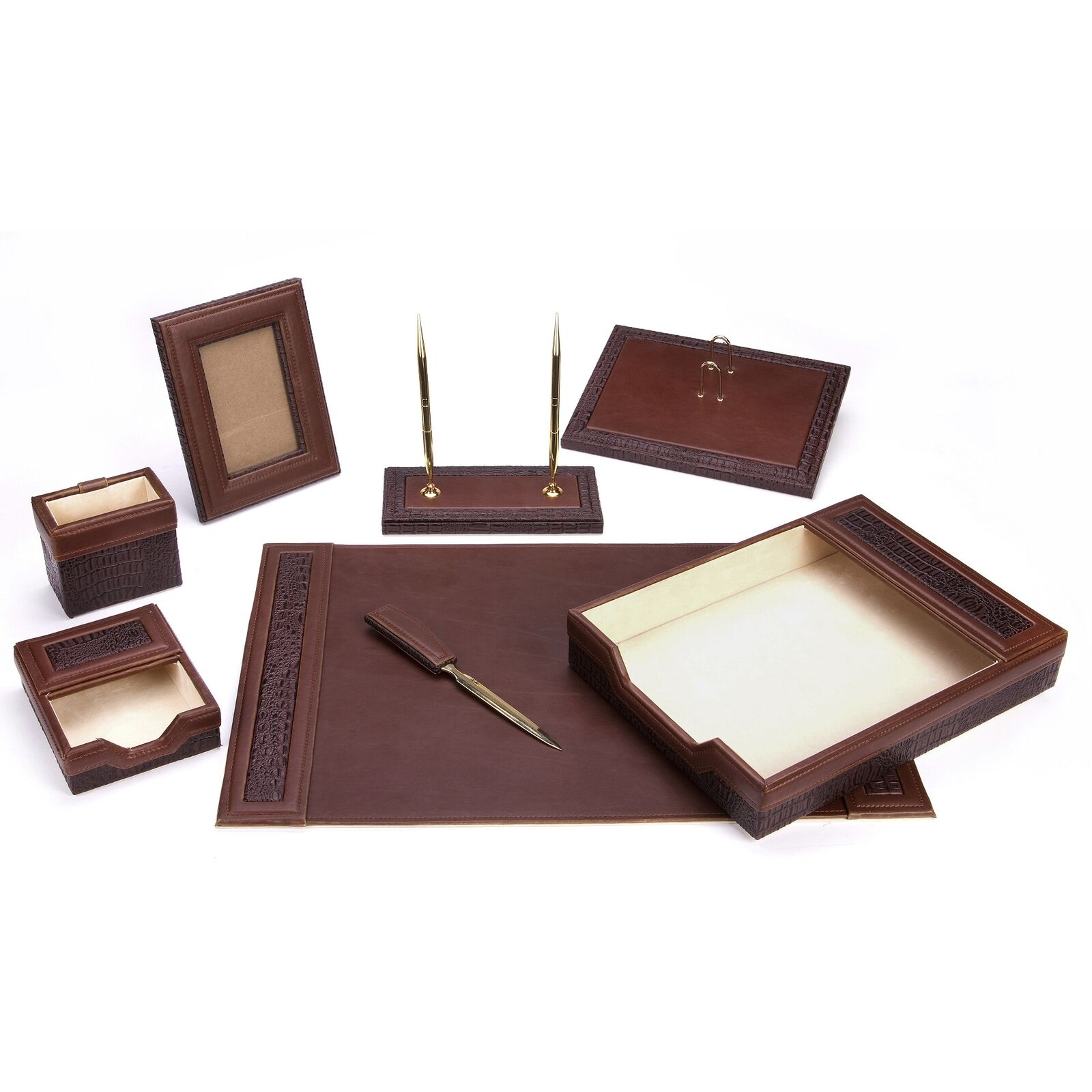 8 PCS Brown Leather Desk Set Organizer Home Office Table Supply Storage Sorter