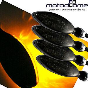 4-X-LED-MINI-BLINKER-METALL-GEHAUSE-SCHWARZ-GETONT-OVAL-E-GEPRFUFT-MOTORRAD-QUAD