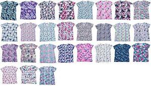 365-Work-amp-Wear-Womens-Fashion-Medical-Nursing-Scrub-Tops-Printed-XS-2XL-Part3