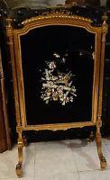 Écran de cheminée Pare-feu en bois doré style Louis XV décor japonisant XIX