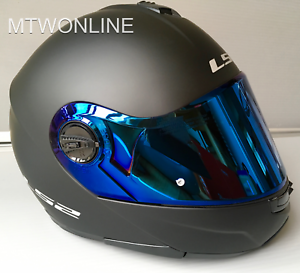 LS2-Flip-Up-Front-Motorcycle-Motorbike-Helmet-MATT-BLACK-Tinted-Blue-Visor