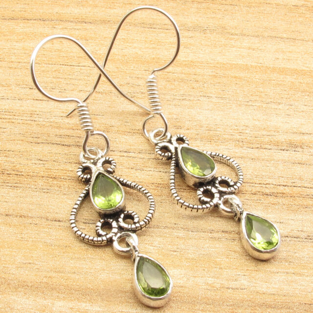 PERIDOT 2 Stone Designer WOMEN'S Earrings 1 3/4 inches ! Silver Plated Jewelry