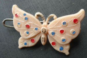 vintage-peach-pink-red-blue-butterfly-hair-clip-barrette-1950s-Y74
