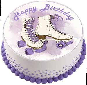 Roller Skates Edible Cake Cupcake Toppers Birithday Purple Girls