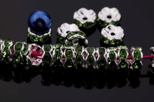 50//100Pcs Plated Czech Rondelle Crystal Rhinestone Loose Spacer Beads DIY 8mm