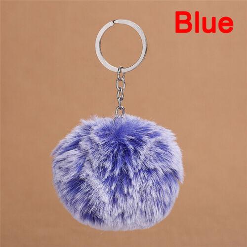 2019 Faux Rabbit Pom-pom Key Chain Bag Charm Fluffy Puff Ball KeyRing CLETP