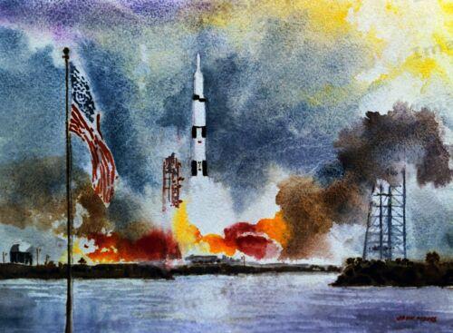 """8x10 Print NASA Space Art /""""Apollo 11 Liftoff/"""" by John Meigs 1969 #1056"""