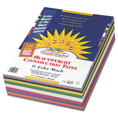 58 lbs. 300 Sheets//P 9 x 12 Assorted SunWorks Construction Paper Smart-Stack