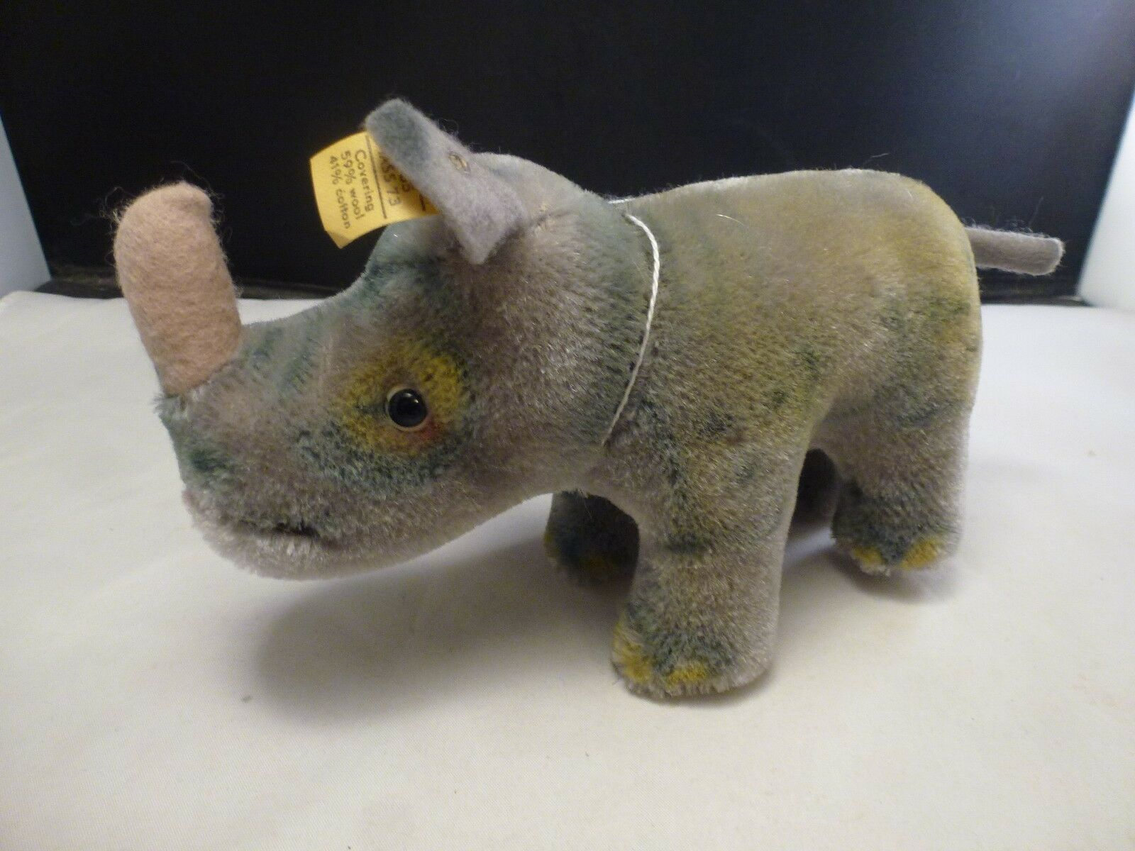 1968 Vintage Steiff Nosy Rhino Rhinoceros with button flag   GUMPS  1100/14