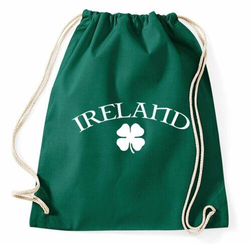 Ireland turn BUSTINA Irlanda Irish SHAMROCK TRIFOGLIO Sport Bustina Sacchetto Juta Zaino