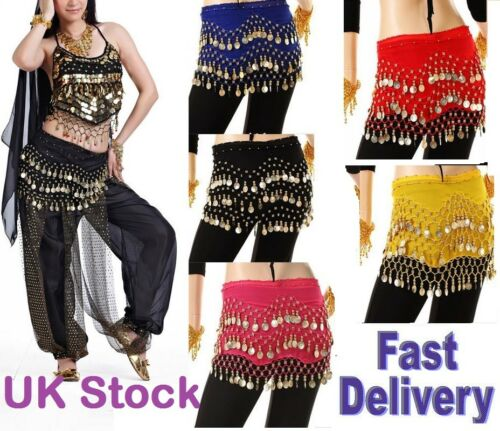 Belly dancing 3 Rows costume hip scarf skirt belt wraps dance dancer Hen Night