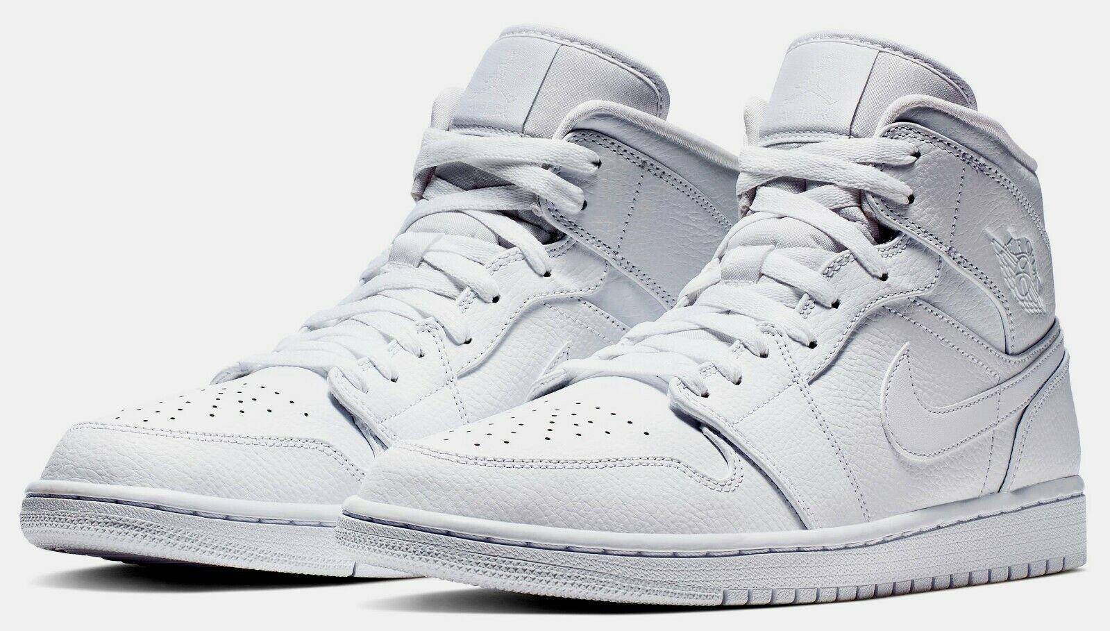 Jordan 1 Mid Hombre Air Triple blancoo 554724-129