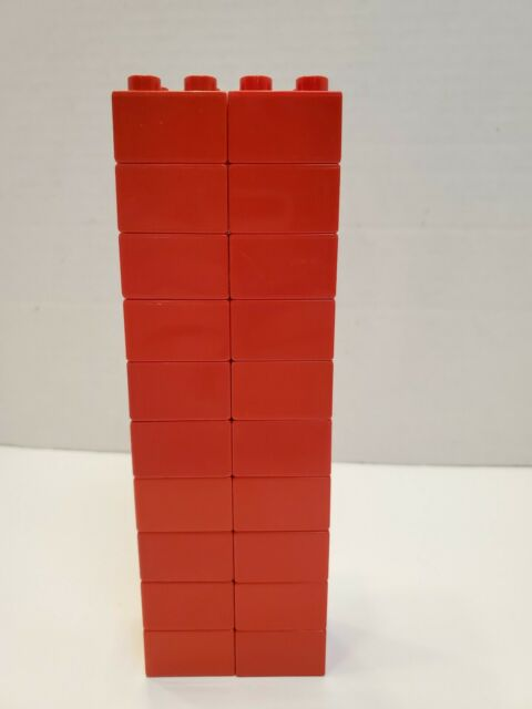 LEGO DUPLO Building Toys 20 Blocks Bulk RED 2x2 Brick Lot