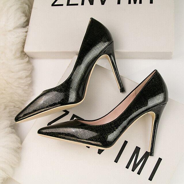 Chaussures decolte eleganti stiletto 10 cm scuro aperto comodi pelle sintetica 1552