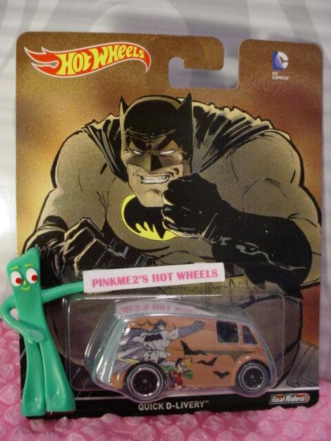 2016 Dc Comics Hot Wheels Batman & Robin Rapida D-Livery Blu Real Rider Pop
