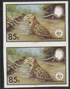 Belize (1259) - 1983 WWF Jaguar 85c IMPERF PAIR unmounted mint