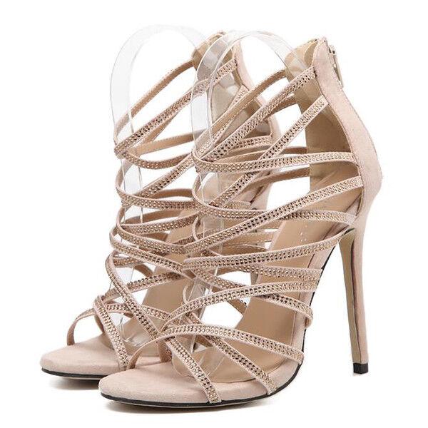 Último gran descuento Sandali eleganti tacco stiletto 11 cm fashion beige simil pelle eleganti 9821