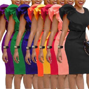 Sexy-Women-Scuba-fabric-ruffle-bodycon-pencil-short-Dress-sleeveless-S-6XL-L0176