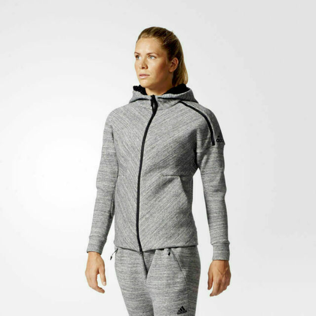 adidas ZNE ROADTRIP HOODIE women's Small gray training travel jacket Originals