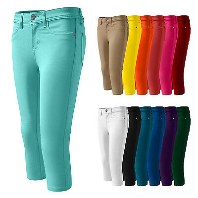 NE PEOPLE Womens Petite Elastic Colorful Skinny Capri Pants (13 Colors) [NEWP10]