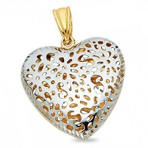 eae479dc978f2 Details about Puffed Heart Pendant 14k Yellow White Gold Charm Diamond Cut  Hollow Two Tone