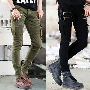 Slim-Fit-Mens-Skinny-Runway-Straight-Elastic-Pants-Destroyed-Ripped-Zipper-Jeans