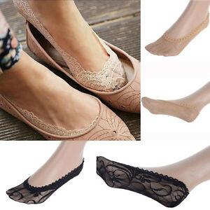 Damen-Socken-Fuesslinge-mit-Spitze-Anti-Skid-Invisible-Ballerinas-Sexy-Boat-Socks
