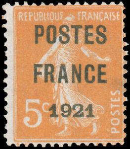 France #YTPO33 Mint CV€250.00 1921 5c ORANGE PRE-CANCEL [Maury #PO31]