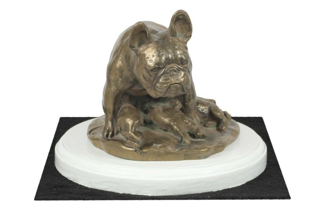 French Bulldog type 2- figurine made of Bronze on the bianca wooden base, Art Dog