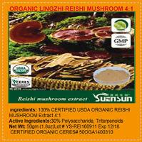 Organic Lingzhi Reishi Mushroom Ganorderma Lucidum 4:1 Extract Powder 50gm