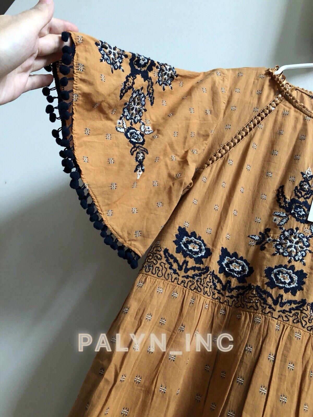 Nuova con Etichetta Zara Aw18 Senape Ricamato Vestito Attillato 5107 5107 5107 305_ 4d06bc