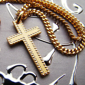 New mens simple cross pendant necklace chain set 18k gold plated image is loading new mens simple cross pendant necklace chain set aloadofball Images