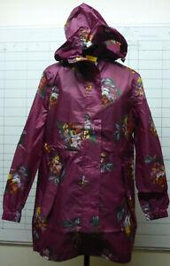 Joules GoLightly Black Peony Packaway Jacket Waterproof Mac Coat Women Size 6