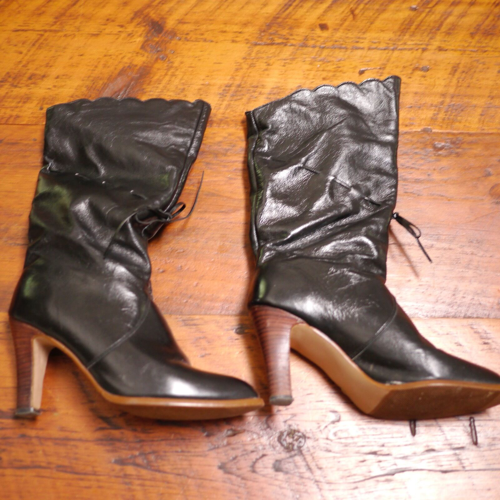 Vintage 80s NATURALIZER Shiny Black Leather High Heel Calf Boots 7.5M 38 w  Box