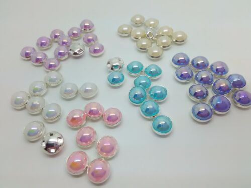 10 Pearl Buttons 8mm Silver Metal Shank Pearl White Ivory Pink Purple Blue White