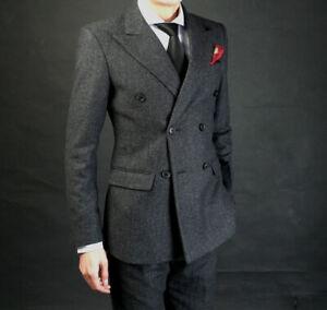 Gray-Herringbone-Suits-Men-Formal-Business-Tweed-Peak-Lapel-Double-breasted-Suit