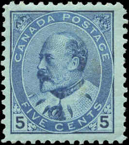 1903-Mint-H-Canada-F-Scott-91-5c-King-Edward-VII-Issue-Stamp