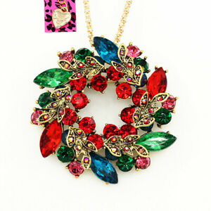Colorful-Crystal-Flower-Wreath-Pendant-Chain-Betsey-Johnson-Necklace-Brooch-Pin