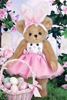 Bearington Bears Beary Cottontail Easter Bunny Ears Pink Dress Collectible Bear