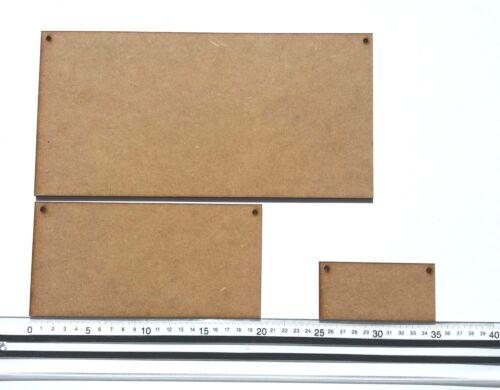 MDF Plaques 4mm thick-Sizes 10cmx5cm//20cmx10cm//30cmx15cm 2 Holes Craft Shapes